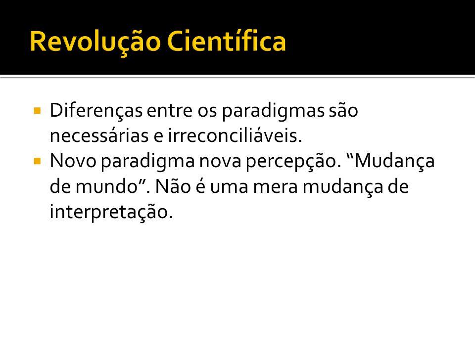 Revolução Científica Diferenças entre os paradigmas são necessárias e irreconciliáveis.