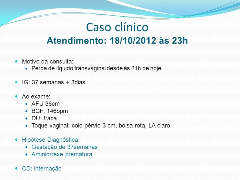 Caso clínico Atendimento: 18/10/2012 às 23h