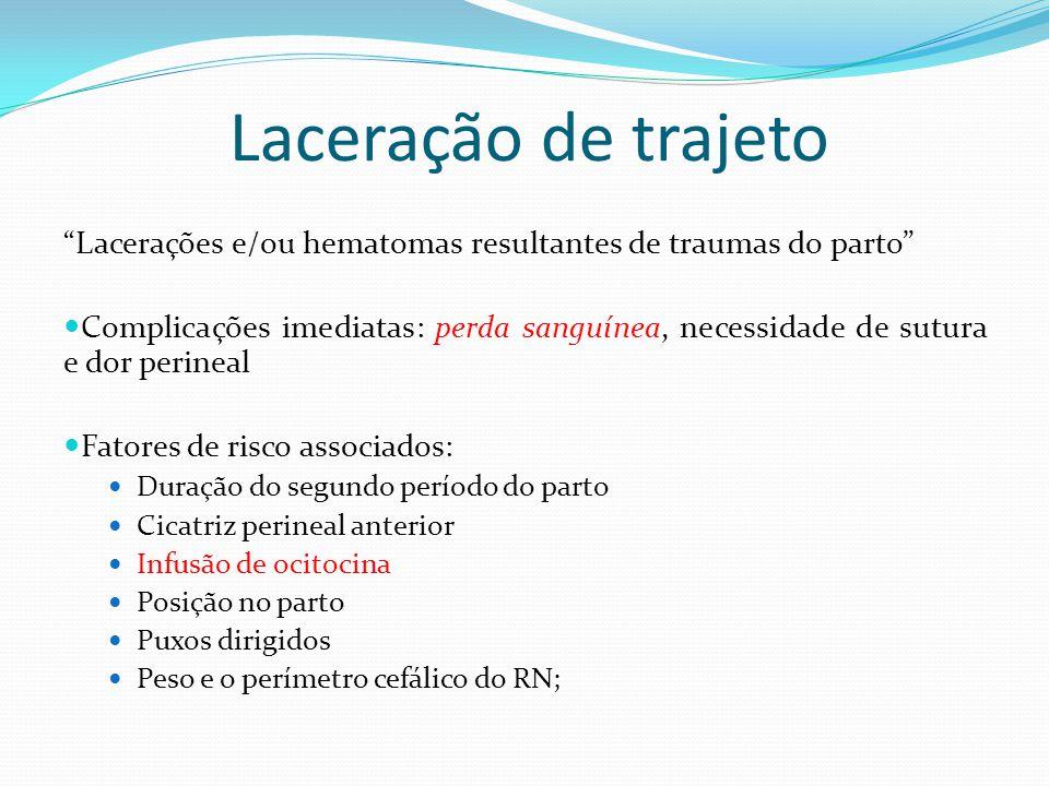 Laceração de trajeto Lacerações e/ou hematomas resultantes de traumas do parto