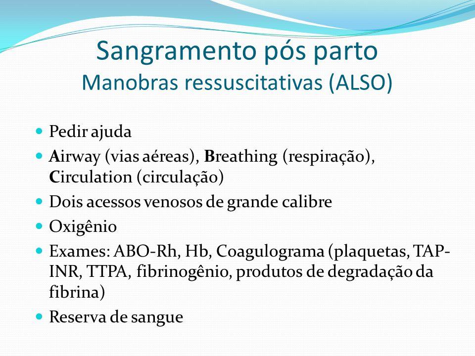 Sangramento pós parto Manobras ressuscitativas (ALSO)