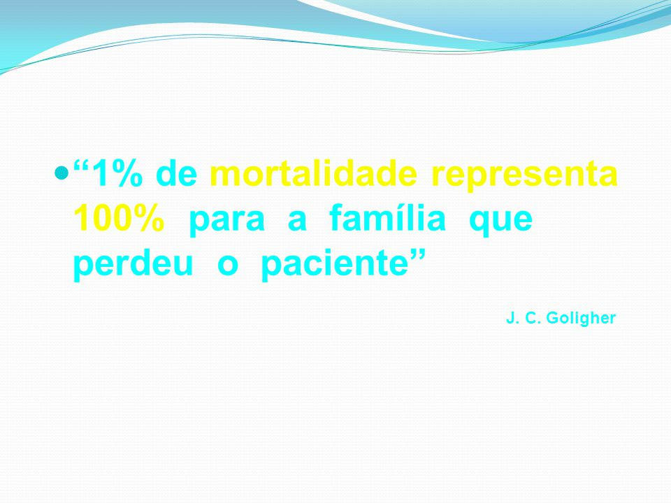 1% de mortalidade representa 100% para a família que perdeu o paciente