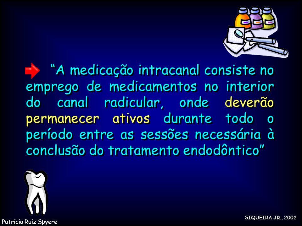 A medicação intracanal consiste no emprego de medicamentos no interior do canal radicular, onde deverão permanecer ativos durante todo o período entre as sessões necessária à conclusão do tratamento endodôntico