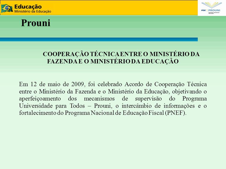11111111 Prouni. COOPERAÇÃO TÉCNICA ENTRE O MINISTÉRIO DA FAZENDA E O MINISTÉRIO DA EDUCAÇÃO.