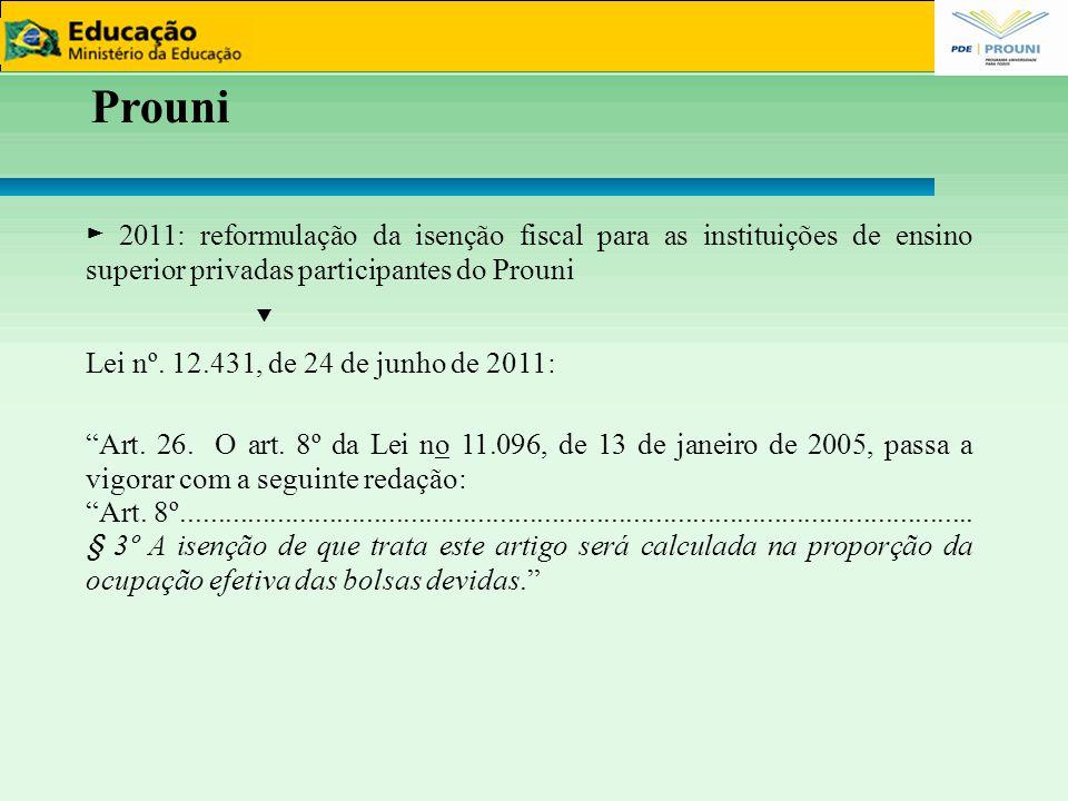 15151515 Prouni. ► 2011: reformulação da isenção fiscal para as instituições de ensino superior privadas participantes do Prouni.