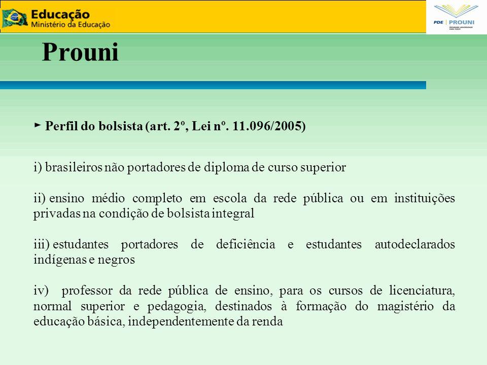 Prouni 44 ► Perfil do bolsista (art. 2º, Lei nº. 11.096/2005)