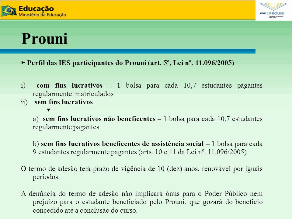 66 Prouni. ► Perfil das IES participantes do Prouni (art. 5º, Lei nº. 11.096/2005)