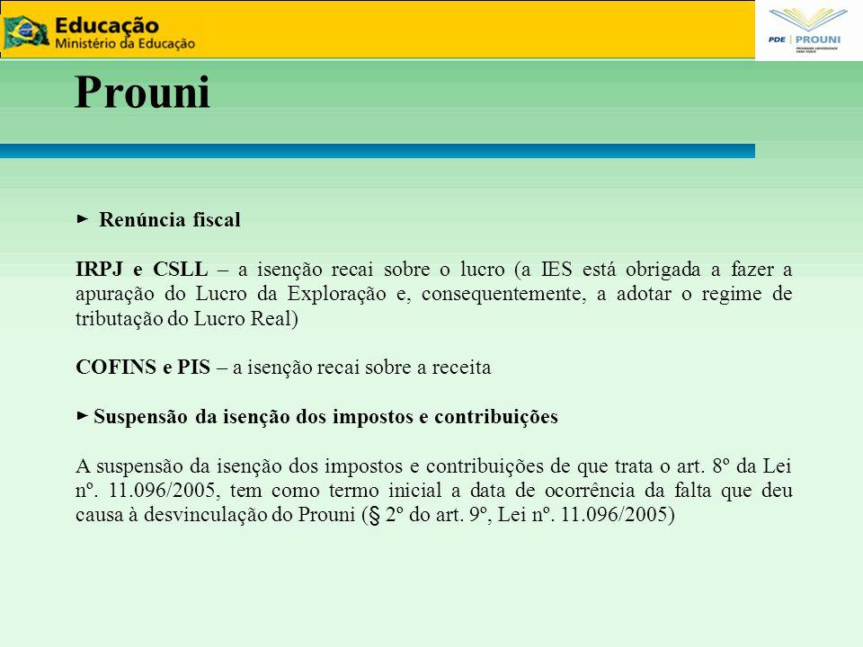 Prouni 99 ► Renúncia fiscal