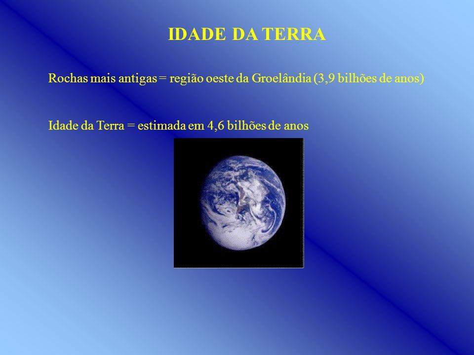 IDADE DA TERRA Rochas mais antigas = região oeste da Groelândia (3,9 bilhões de anos) Idade da Terra = estimada em 4,6 bilhões de anos.
