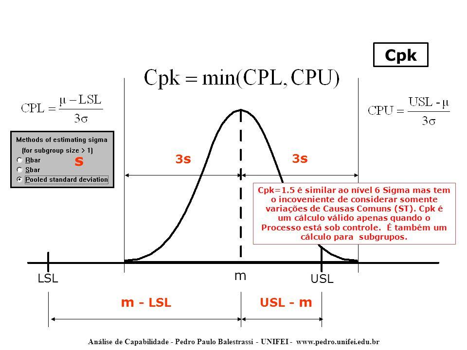 Cpk s m m - LSL 3s 3s LSL USL USL - m