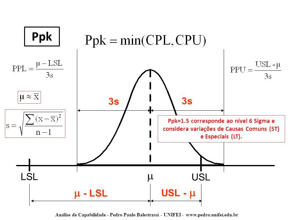 Ppk m m - LSL 3s 3s LSL USL USL - m