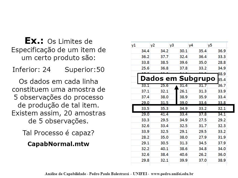 Ex.: Os Limites de Especificação de um item de um certo produto são: