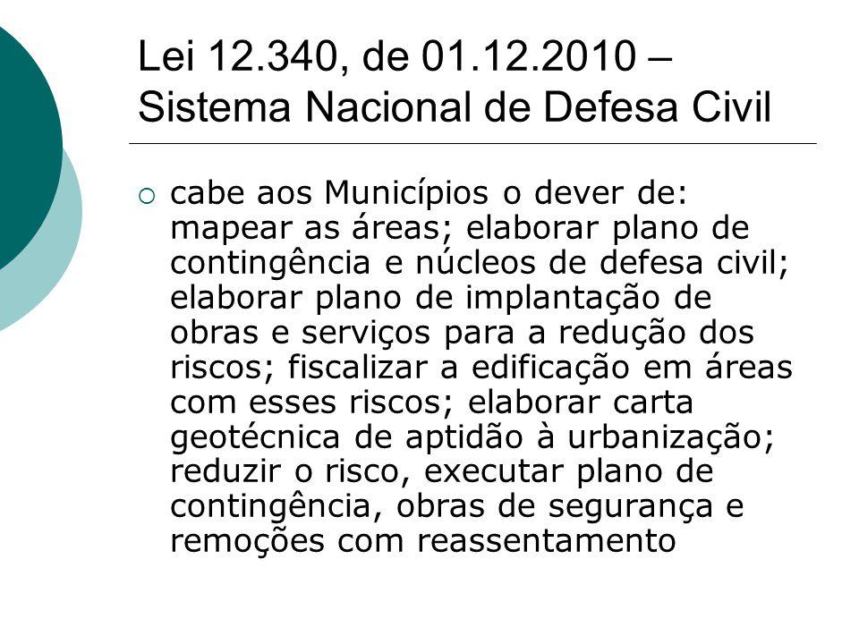 Lei 12.340, de 01.12.2010 – Sistema Nacional de Defesa Civil