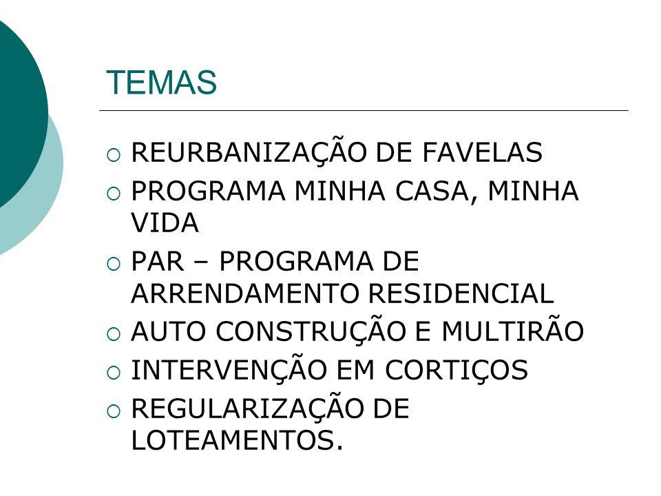 TEMAS REURBANIZAÇÃO DE FAVELAS PROGRAMA MINHA CASA, MINHA VIDA