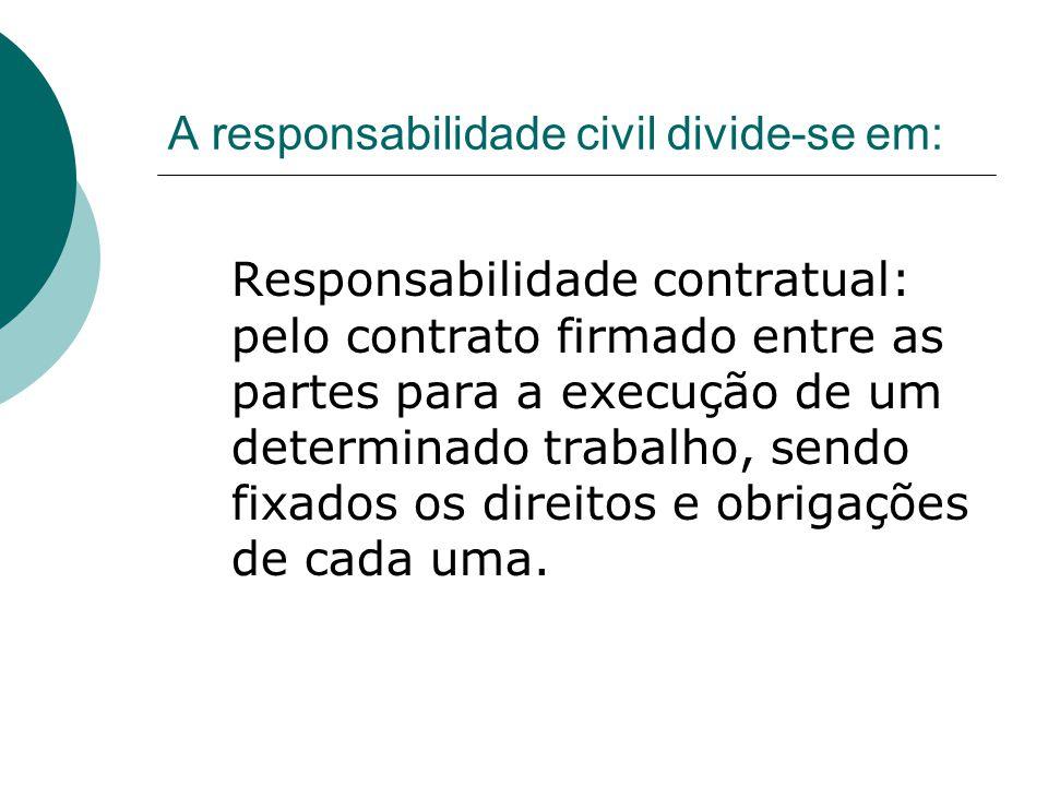 A responsabilidade civil divide-se em: