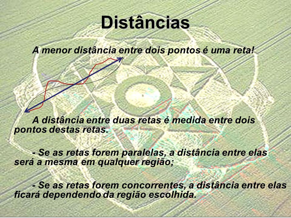 Distâncias A menor distância entre dois pontos é uma reta!
