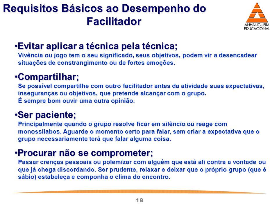 Requisitos Básicos ao Desempenho do Facilitador