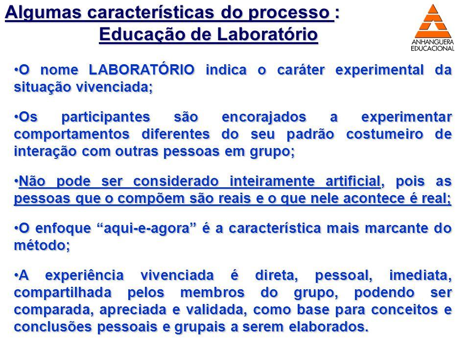 Algumas características do processo : Educação de Laboratório