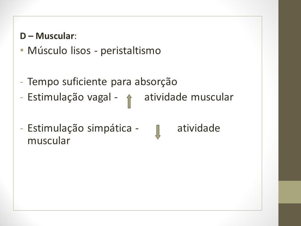 Músculo lisos - peristaltismo Tempo suficiente para absorção