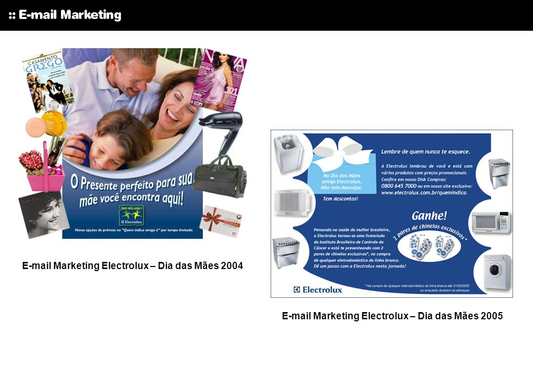 E-mail Marketing Electrolux – Dia das Mães 2004
