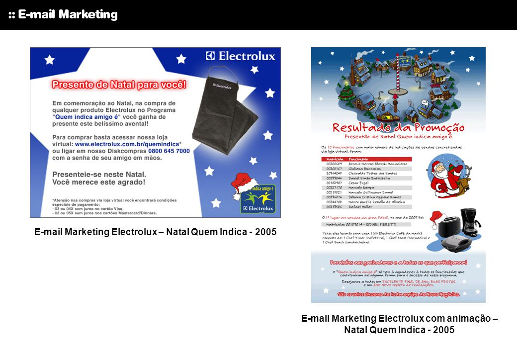 E-mail Marketing Electrolux – Natal Quem Indica - 2005
