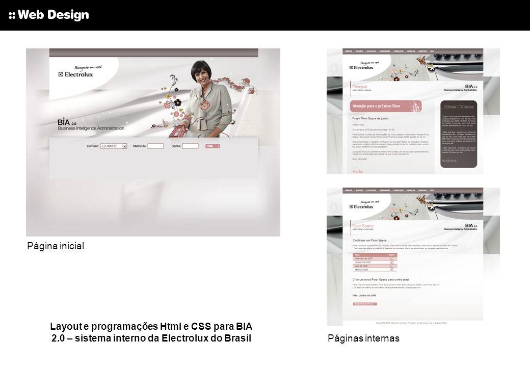 Página inicial Layout e programações Html e CSS para BIA 2.0 – sistema interno da Electrolux do Brasil.