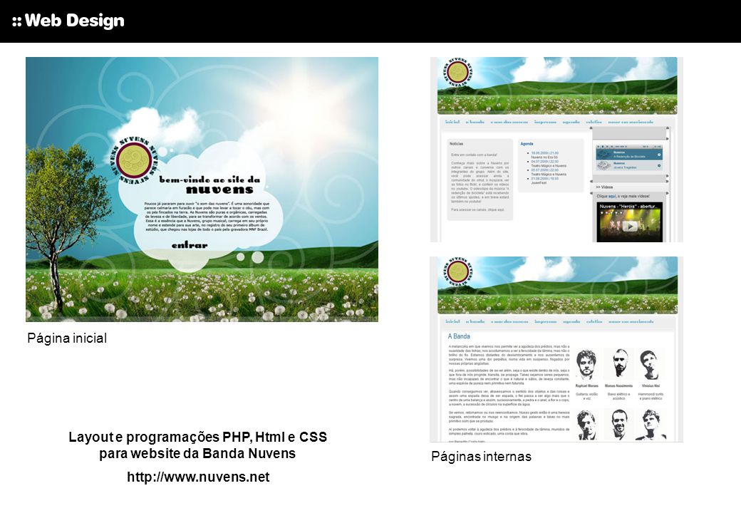 Layout e programações PHP, Html e CSS para website da Banda Nuvens