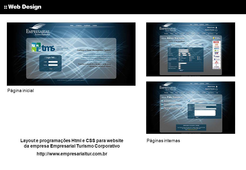 Página inicial Layout e programações Html e CSS para website da empresa Empresarial Turismo Corporativo.
