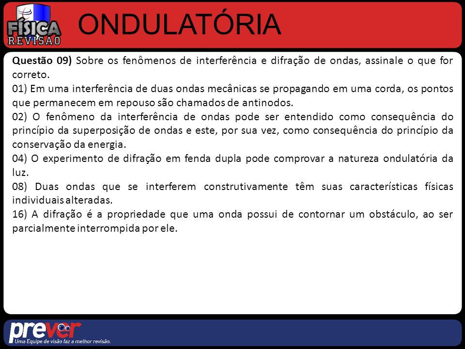 ONDULATÓRIA Questão 09) Sobre os fenômenos de interferência e difração de ondas, assinale o que for correto.