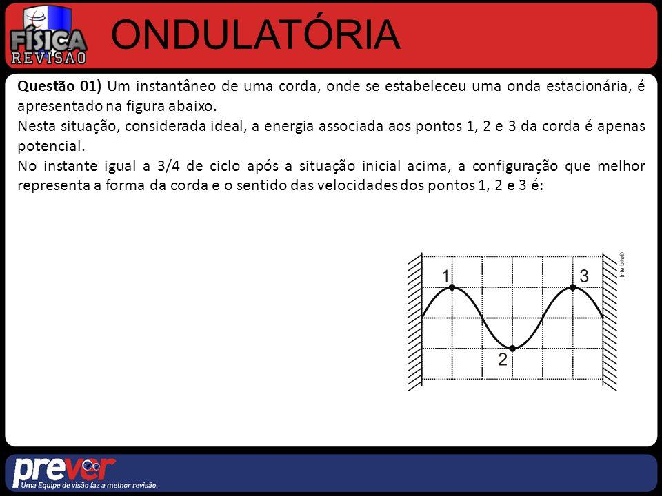 ONDULATÓRIA Questão 01) Um instantâneo de uma corda, onde se estabeleceu uma onda estacionária, é apresentado na figura abaixo.