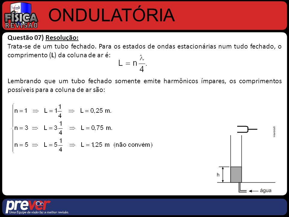 ONDULATÓRIA Questão 07) Resolução: