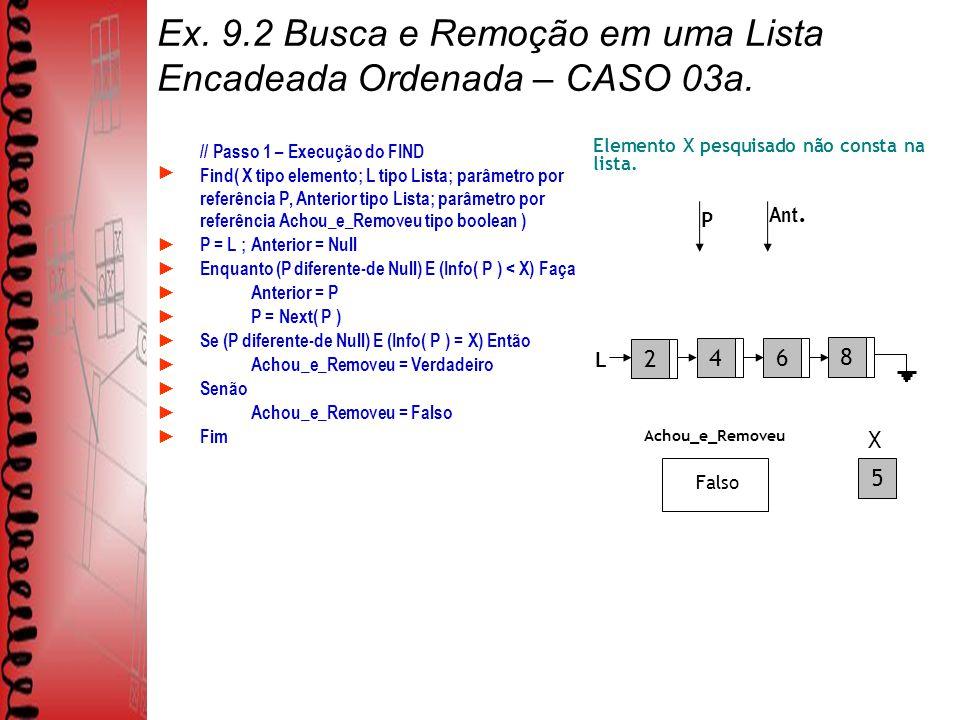 Ex. 9.2 Busca e Remoção em uma Lista Encadeada Ordenada – CASO 03a.