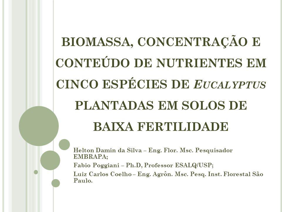BIOMASSA, CONCENTRAÇÃO E CONTEÚDO DE NUTRIENTES EM CINCO ESPÉCIES DE Eucalyptus PLANTADAS EM SOLOS DE BAIXA FERTILIDADE