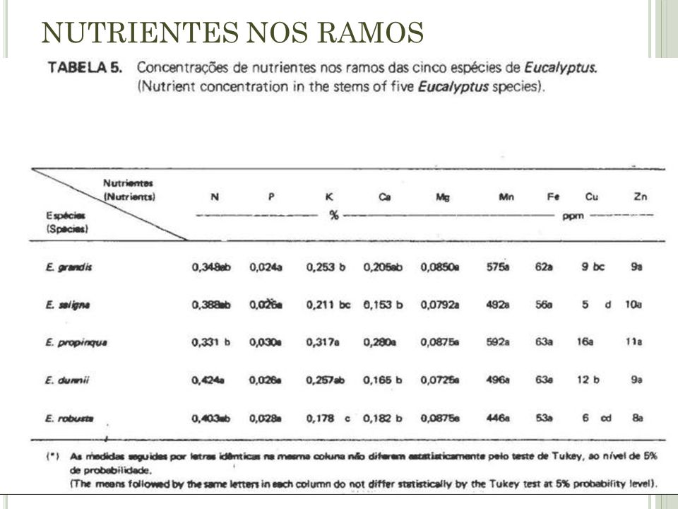 NUTRIENTES NOS RAMOS