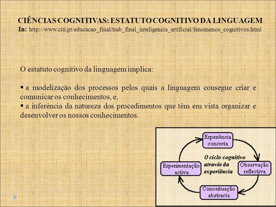 CIÊNCIAS COGNITIVAS: ESTATUTO COGNITIVO DA LINGUAGEM