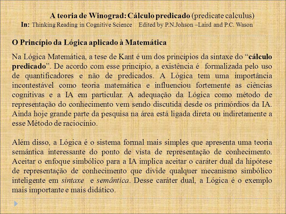 A teoria de Winograd: Cálculo predicado (predicate calculus)