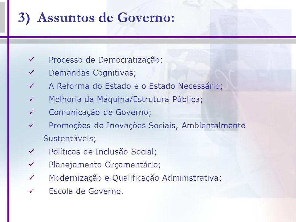 3) Assuntos de Governo: Processo de Democratização;