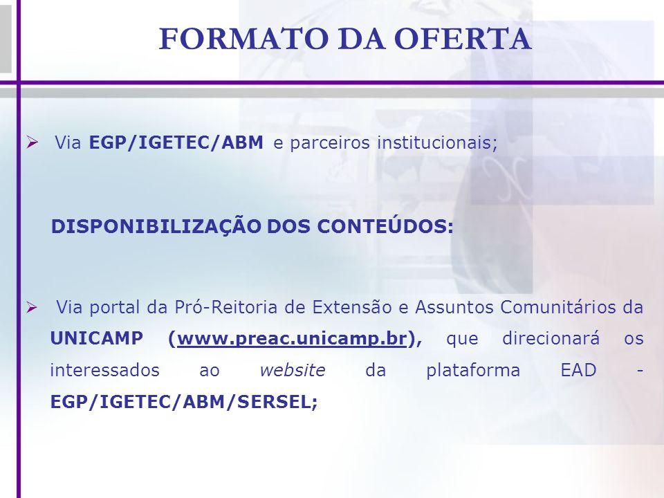 FORMATO DA OFERTA Via EGP/IGETEC/ABM e parceiros institucionais;