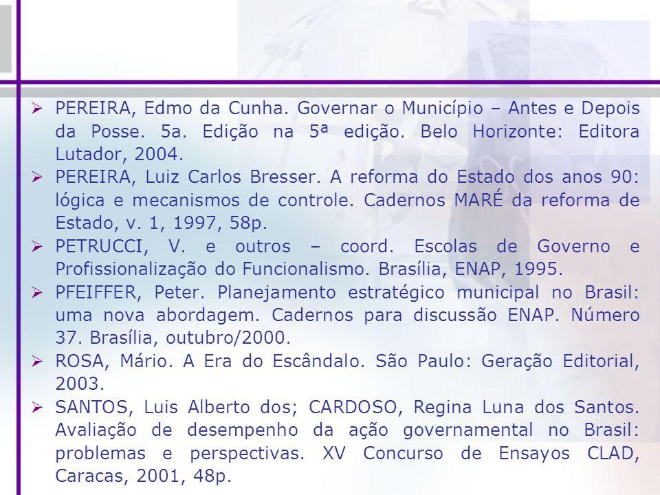 PEREIRA, Edmo da Cunha. Governar o Município – Antes e Depois da Posse