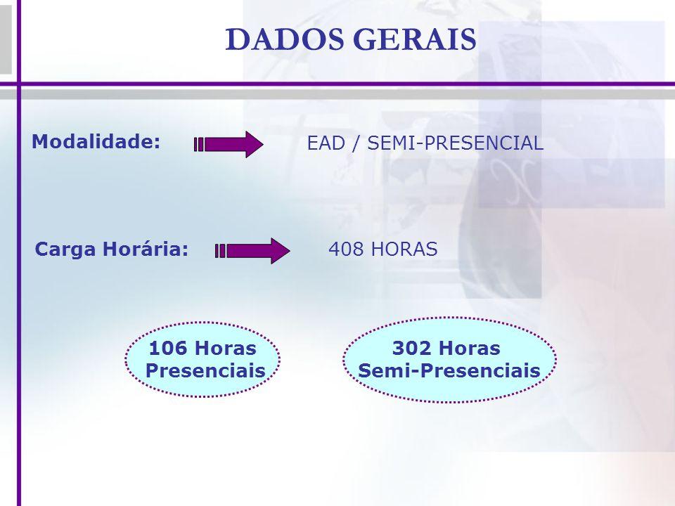 DADOS GERAIS Modalidade: EAD / SEMI-PRESENCIAL Carga Horária:
