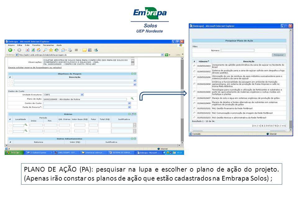 PLANO DE AÇÃO (PA): pesquisar na lupa e escolher o plano de ação do projeto.
