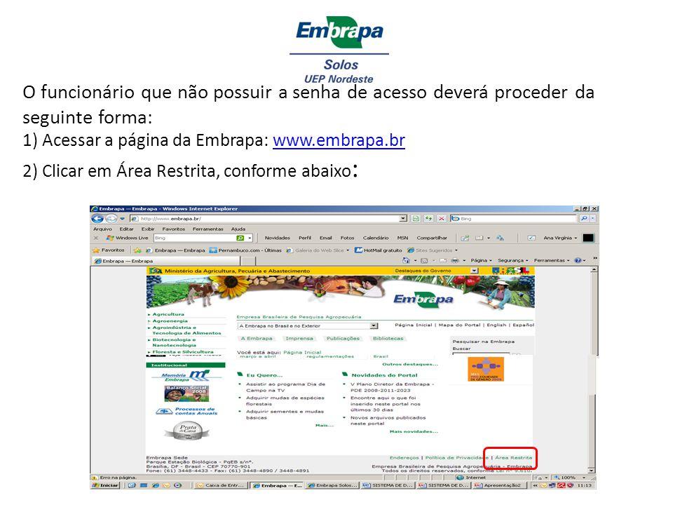 O funcionário que não possuir a senha de acesso deverá proceder da seguinte forma: 1) Acessar a página da Embrapa: www.embrapa.br 2) Clicar em Área Restrita, conforme abaixo: