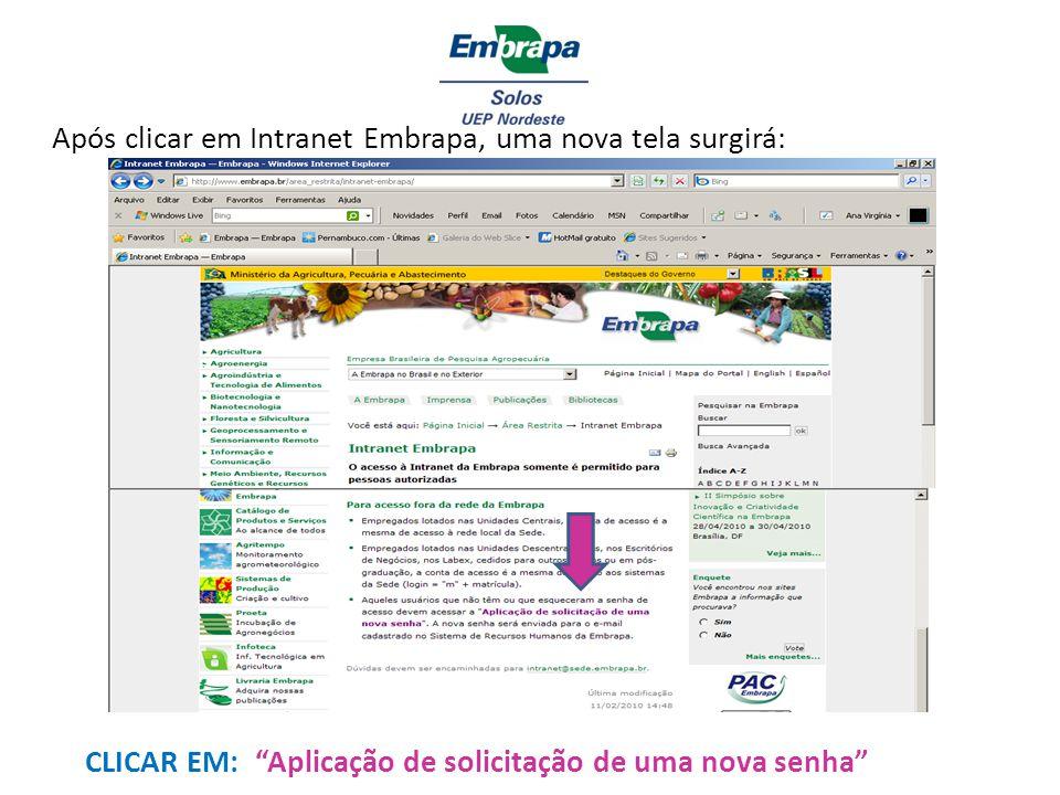 Após clicar em Intranet Embrapa, uma nova tela surgirá: