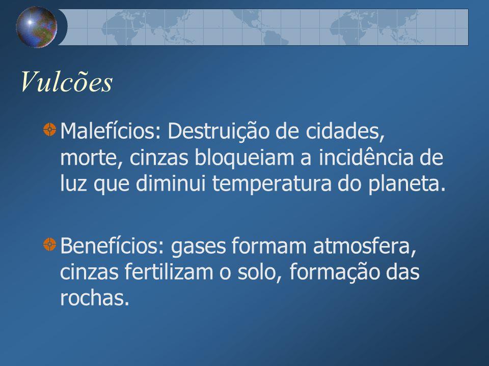 Vulcões Malefícios: Destruição de cidades, morte, cinzas bloqueiam a incidência de luz que diminui temperatura do planeta.