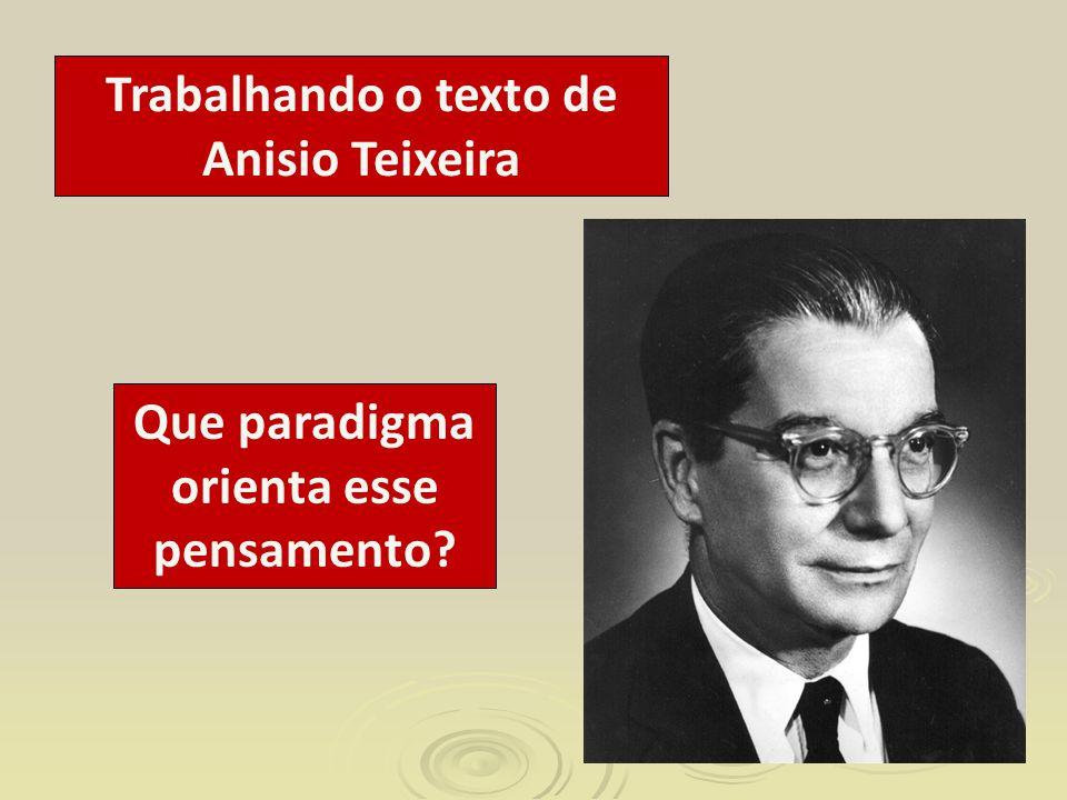 Trabalhando o texto de Anisio Teixeira