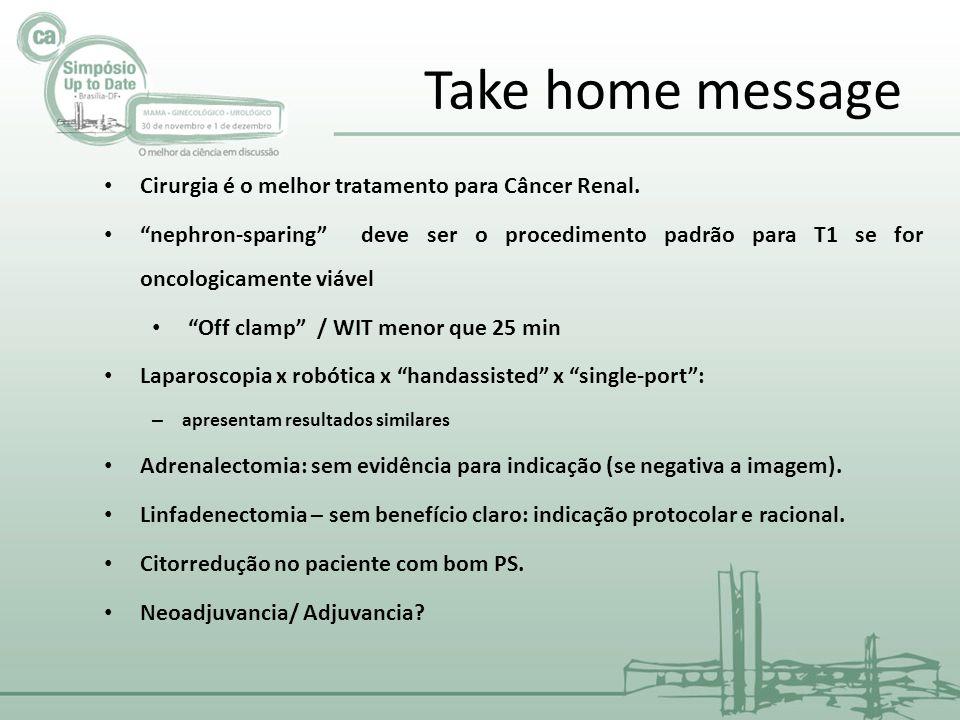 Take home message Cirurgia é o melhor tratamento para Câncer Renal.
