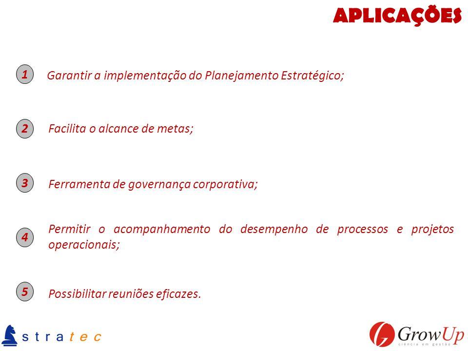 APLICAÇÕES 1 Garantir a implementação do Planejamento Estratégico; 2