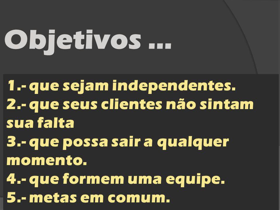 Objetivos … 1.- que sejam independentes.