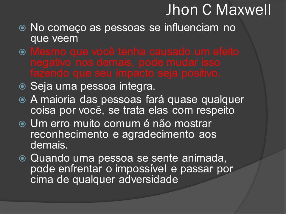 Jhon C Maxwell No começo as pessoas se influenciam no que veem