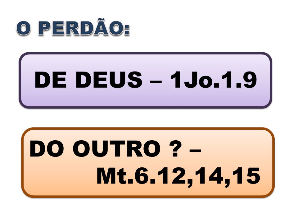 O PERDÃO: DE DEUS – 1Jo.1.9 DO OUTRO – Mt.6.12,14,15