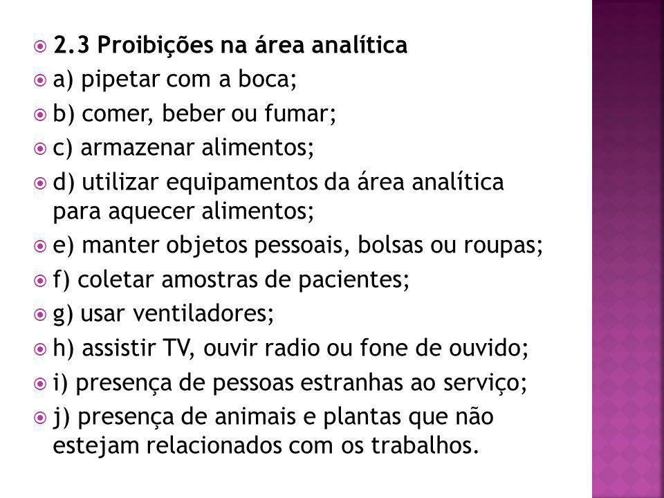 2.3 Proibições na área analítica